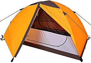 XGEAR Ultralight 2-Person Backpacking Tent 2 Doors Waterproof Camping Tent Large Size Easy Setup Hiking Tent with Rain Fly & Floor Mat for Family, Outdoor, Hiking and Mountaineering (Orange)