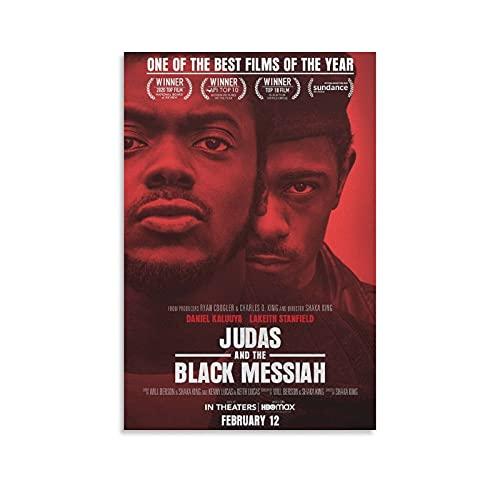 Póster biográfico de película real historia de los negros nominados al Oscar Judas y el negro en lienzo y arte de la pared con impresión moderna para dormitorio familiar de 20 x 30 cm