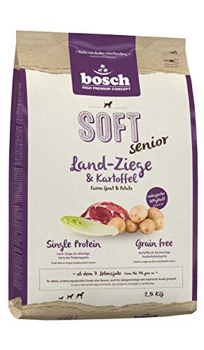 Bosch HPC SOFT Senior Ziege & Kartoffel   halbfeuchtes Hundefutter für ältere, ernährungssensible Hunde aller Rassen   Single Protein   Grain Free, 1 x 2.5 kg