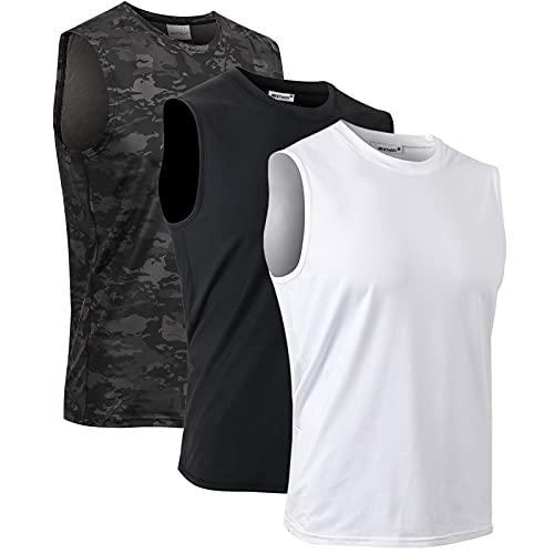 MeetHoo Débardeur Homme, Tank Top Sleeveless Shirt sans Manches Maillot Séchage Rapide Respirant Tee de Musculation Running