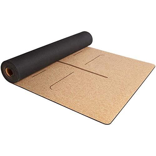 ZHANG Esterilla de Yoga para Ejercicio Alfombrillas de Yoga de Corcho de Caucho Natural Alfombrillas de Ejercicio Antideslizantes para Deportes Pilates Esterilla de Yoga