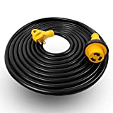 TREKPOWER RV Extension Cord(30A 50FT Power Cable) with Heavy Duty Handles and Twist Lock for Outdoor Use(Boat to Shore/RV) STJW(10/3),(TT-30R) TO (L5-30R)