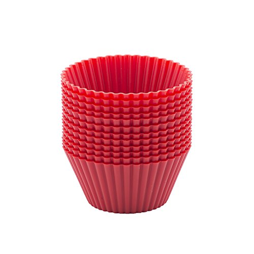 beicemania 12 7cm Coque en Silicone Moules à Muffins Cupcakes Pack Basic Rouge Rond