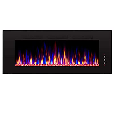 "Antarctic Star 50"" Recessed Electric Fireplace, Built-in Wall & Wall Mounted Electric Heater, Multicolor Flame & Crystal, 1500W Heater, Touch Screen, Black (50'')"