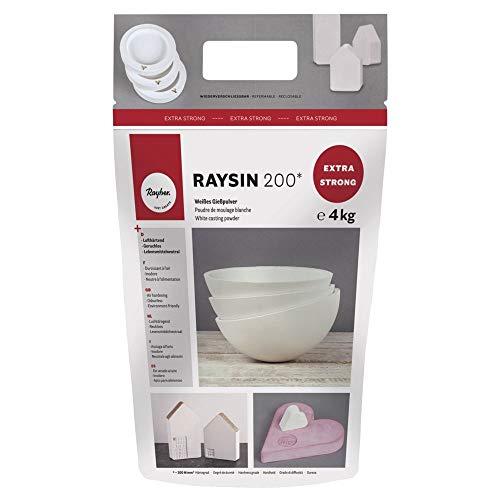 Rayher 34410102 Raysin 200 Polvere di Ceramica, Gesso da Colare, Sacchetto 4 kg, Asciuga all'Aria, Inodore, per Uso Hobbistico e Progetti Creativi, Colore Bianco