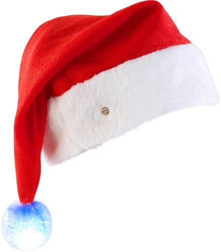 infactory Weihnachtsmützen: LED-Nikolausmütze mit leuchtendem Bommel, farbwechselnd (Weihnachtsmütze LED)