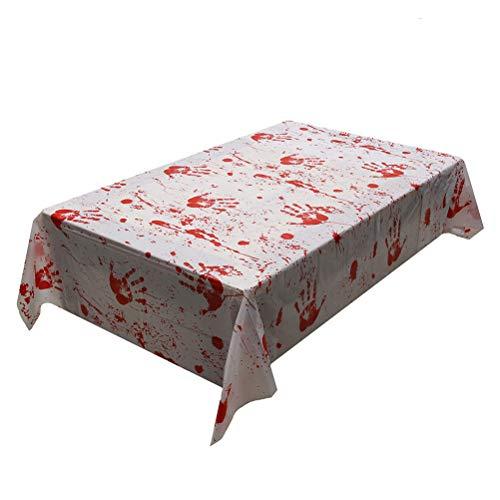 DOITOOL - 2 manteles de Halloween manchados de sangre decoración interior accesorios fiesta suministros para casa encantada escena escena accesorios