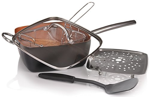 Copper Pan 5 Piece Cookware Set - Non Stick Copper Chef Frying Pans with Induction Bottom Steamer Tray and Fry Basket - Oven Safe Non-Stick Deep Copper Square Design with Glass Lid