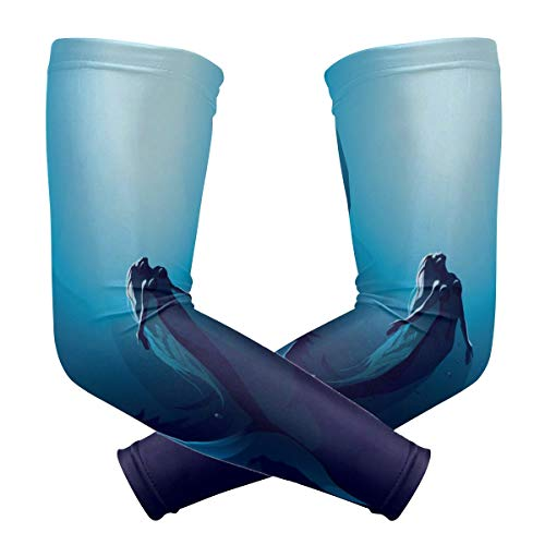SLHFPX Arm Sleeves Mermaid Ocean Mens Baseball Long Cooling Sleeves Sun UV Compression Arm Covers