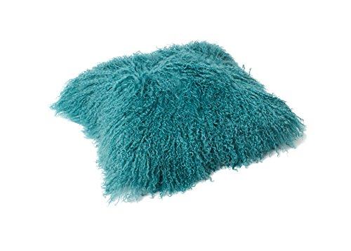 Tibet Lammfell Kissen Kissenbezug 40x40cm (große Farbauswahl) JAY102 Farbe Turquoise/türkis
