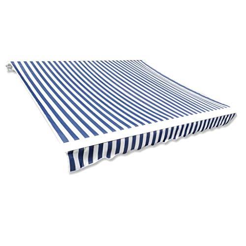 Cikonielf Toldo Rectangular de Lona, 4 x 3 M, sin armazón, Resistente a los Rayos UV, Toldo de Repuesto no se destiñe, Azul y Blanco, para Patio, Terraza o Jardín