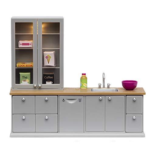Lundby 60-201600 - Küchenmöbel Spüle Puppenhaus - Möbelset 8-teilig - Puppenhauszubehör - Möbel - Küche - Küchenausstattung - Spülbecken - LED-Beleuchtung - Zubehör - ab 4 Jahre - Minipuppen 1:18