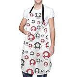 Lindo delantal rojo Amanita setas lindo impermeable impreso en impresión única para mujeres y hombres