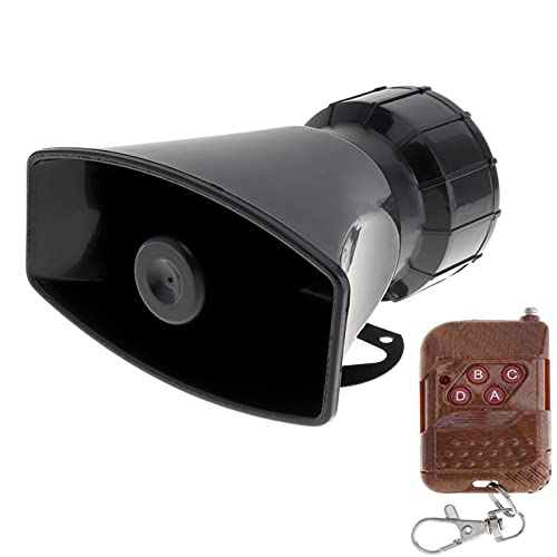 LIUWEI Bocina 12V 100W 7 Sonido Ruidoso Alarma de Advertencia Police Fire Siren Horn Speaker con Control Remoto Negro para automóviles Camión de vehículos (Color : Brown Remote, Voltage : 12V)