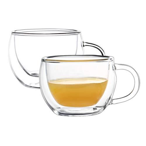 Winox Visión completa de bebidas calientes: elegante cristal de doble pared de 80 ml para café expreso.