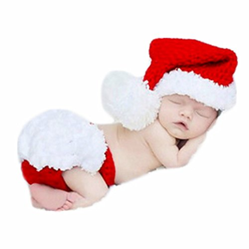 Baby Newborn Photo Props Boy Girl Photo Shoot Outfits Crochet Knit Christmas Clothes Hat Shorts Photography Props