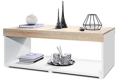 Vladon Couchtisch Wohnzimmertisch Pure mit Zwei großen Ablageflächen, Korpus in Weiß matt/Tischplatte und Blenden in Eiche sägerau | Große Farbauswahl