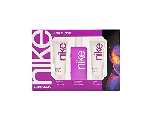 Nike - Ultra Purple Estuche de Regalo para Mujer, Eau de Toilette 100 ml, Gel de Baño 100 ml y Body Lotion 75 ml