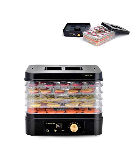 Great Features Of Aon-WL Black Dehydrator, 250W, LED Display, 5 Plastic Lattice Trays, BPA-Free, 35-70 ° C, Timer from 1-48 Hours