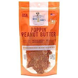 Mika & Sammy's Gourmet Chicken Jerky Dog Treats. Made in USA. (Poppin' Peanut Butter, 5 oz)