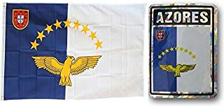 ALBATROS Set Azores Country 3 ft x 5 ft 3x5 Flag and 3ftx4ft Decal for Home and Parades, Official Party, All Weather Indoors Outdoors