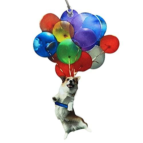 Veiai Flying Cat Dog Balloon Car Hanging Ornament,Car Decor Interior Hanging Pendent with Balloon Key Charm Decoration Pendant (Dog)