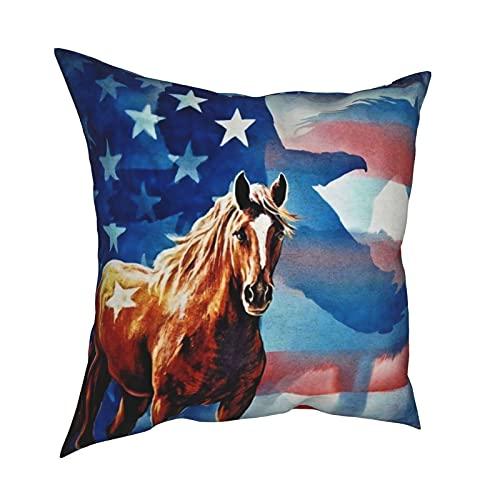 mengmeng The Mountain Horse - Fundas de almohada decorativas de 30,5 x 30,5 cm, cuadradas, fundas de cojín para el hogar, sofá, dormitorio, sala de estar