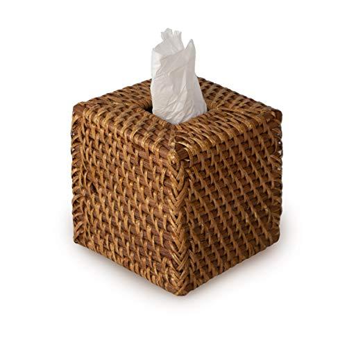 Made Terra Porta dispensador de servilletas de papel de ratán tejido | Titular de mimbre decorativo recargable caja de pañuelos faciales