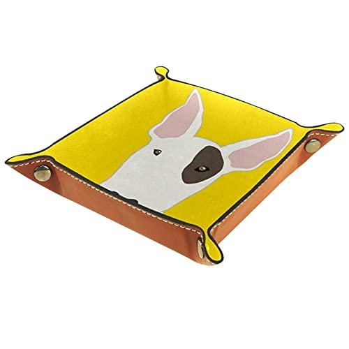 Caja de almacenamiento multiusos con bandeja valet de cuero Organizador de bandejas Se utiliza para almacenar pequeños accesorios.,coche feliz tiempo