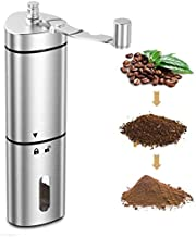 COMSOON Manual Coffee Grinder with Adjustable Setting, Portable Hand Coffee Grinder Conical Ceramic Burr Grinder Stainless Steel Coffee Mill for Espresso, French Press, Turkish Brew