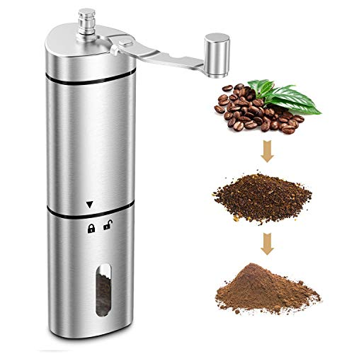 Comsoon Manual Coffee Grinder, Portable Hand Coffee Grinder with Adjustable Setting, Conical Ceramic Burr Grinder Stainless Steel Coffee Mill for Espresso, French Press, Turkish Brew