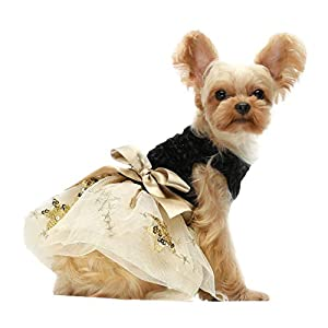 Fitwarm Embroidery Sequins Dog Dresses Tulle Pet Clothes Cat Gown Black