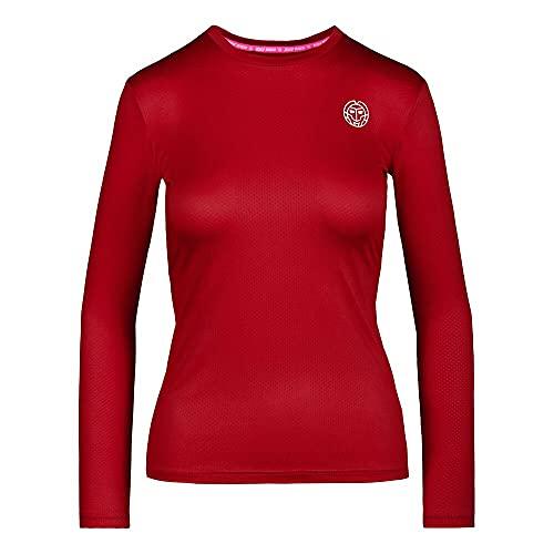 BIDI BADU Damen Longsleeve Langärmliges Trainingsshirt Schnelltrocknendes Langarmshirt Rot - Pia Tech Roundneck Longsleeve - red, GRÖßE:XS