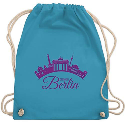 Shirtracer Skyline - Skyline Berlin Deutschland Germany - Unisize - Hellblau - weiße beutel - WM110 - Turnbeutel und Stoffbeutel aus Baumwolle