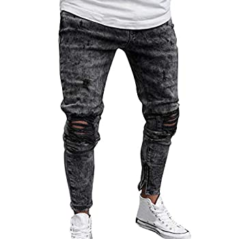 Men s Skinny Jeans Fashion Teen Boys Stretch Slim Fit Ripped Destroyed Distressed Snow Wash Denim Jeans Pants  Gray M