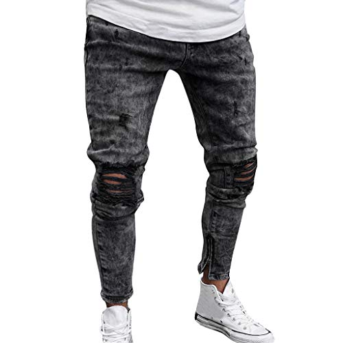 FKSESG Jeans for Mens Denim Pants Distressed Ripped Freyed Slim Fit Trousers Gray