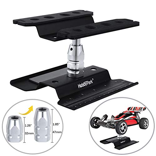 Hobbypark RC Car Work Stand Repair Workstation Aluminum 360 Degree Rotation Lift / Lower for 1/10 1/12 1/16 1/18 Truck Buggy On Road Touring Drift (Black)