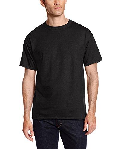 Hanes Men's Short Sleeve Beefy-T (Pack of 2), Black, Medium