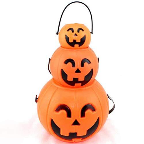 VOSAREA 3pcs Pumpkin Bucket Plastic Portable Halloween Cute Cartoon Candy Holder Decor Props Candy Bucket for Teens Friends Kids