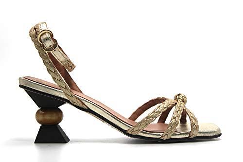 PEDRO MIRALLES - Sandalia de piel, tacón retro de 7cm, trenzado, suela de goma, para: Mujer color: PLATINO talla:40