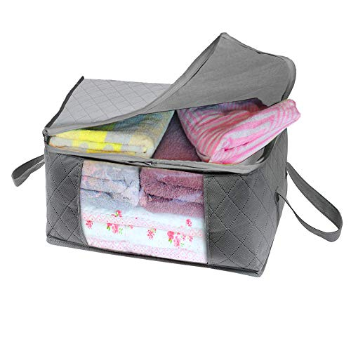 Woffit Extra Large Foldable Storage Bag Organizers, Large Clear Window & Carry Handles, Great for Clothes, Blankets, Towels, Winter & Summer Clothing, Closets, Bedrooms, Under Bed & More