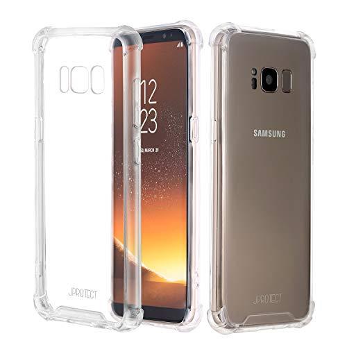 JProtect Hülle kompatibel mit dem Samsung Galaxy S8 Shockproof | Transparentes Stoßsicheres TPU | Silikonhülle Bumper case Cover Schutzhülle | Perfekte Passform | Unterstützt Kabelloses Laden |