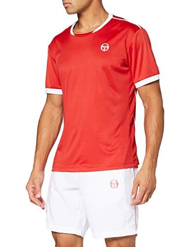 Sergio Tacchini Club Tech T-Shirt, Maglietta da Uomo, Rosso/Bianco, L