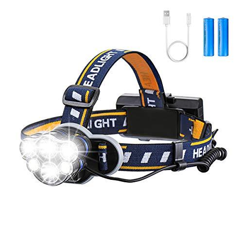Lampada Frontale LED Super Bright, 10000LM 6 LED 8 Modalità USB Ricaricabile Impermeabile, Faro Ideale Per Salvataggio/Escursionismo/Campeggio/Camminata/ Jogging / Pesca / Arrampicata - OUTERDO