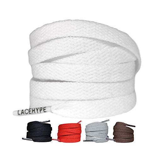 LaceHype 2 Paar - Schnürsenkel Flach Reißfest [8 mm breit ] für Sneakers, Sportschuhe, Laufschuhe, Schuhe Schuhbänder Bänder Ersatz Shoelaces aus Polyester (100, Weiß)