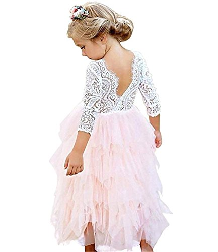 Toddler Baby Flower Girls Princess Tulle Dress Lace Backless Tutu A-line Beaded Party Dresses Pink