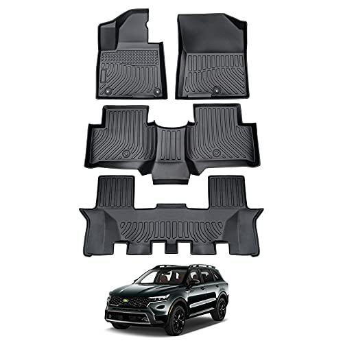 Cartist Floor Liners for 2021 Sorento All Weather Floor Mats Custom Fit 2022 Kia Sorento 7 Seats Carpet Protection TPE Odorless