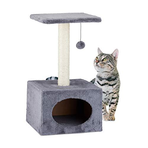 Relaxdays Kratzbaum, Kletterbaum mit Katzenhöhle, Sisalstange und Spielball, Plüschbezug, HBT 56x31x31 cm, grau