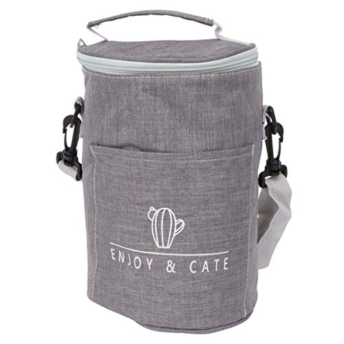 Cabilock – Fiambrera aislante, bolsa isotérmica grande de aluminio con cremallera, bolsa isotérmica para llevar, bolso para mujeres, hombres, trabajo, escuela (gris)