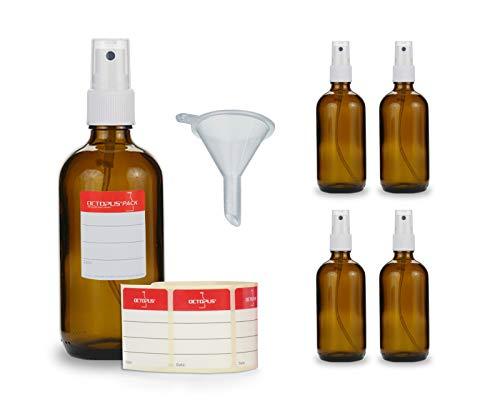 5 botellas de vidrio marrón de 100 ml con pulverizador manual, mini embudo + etiquetas identificativas, botellas de pulverización con rociador de bombeo, p. ej. para plata coloidal o perfume